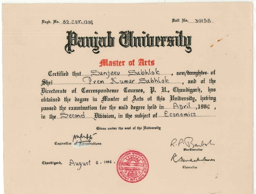 University Degree: Delhi University Degree Certificate